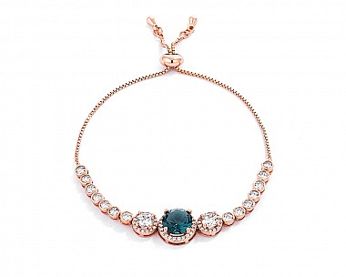 Exquisite Rose Gold Plated Graduated CZ Bolo Style Tennis Bracelet