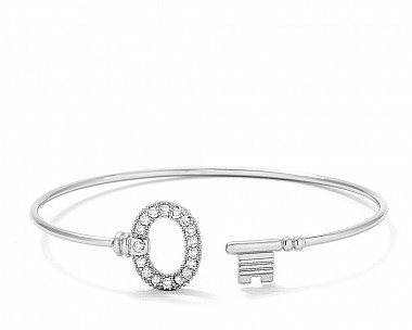 Trendy Rhodium Plated Open Wire Key Bangle