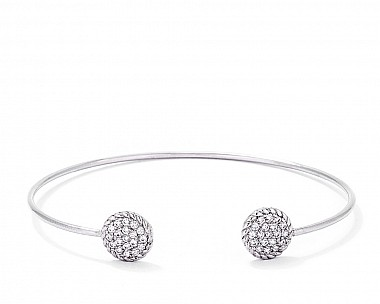 Stylish Rhodium Plated CZ Circle Open Wire Bangle