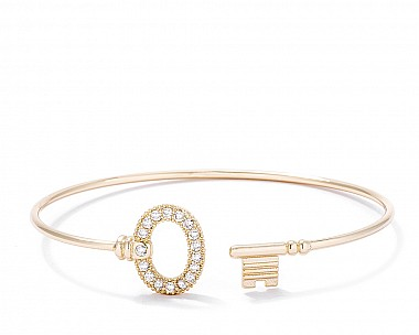 Trendy Gold Plated Open Wire Key Bangle