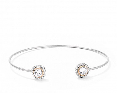 Classic Two-Tone CZ Halo Open Wire Bangle