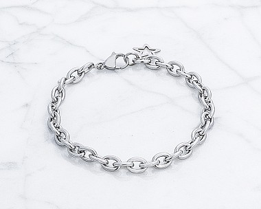 Polished Stainless Steel Link Bracelet