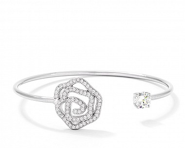 Fashionable Pave CZ Rose Open Wire Bangle