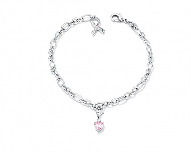 Rhodium Plated Breast Cancer Awareness Ribbon and Heart Charm Bracelet