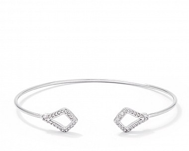 Contemporary Rhodium Plated CZ Geometric Station Open Wire Bangle