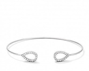 Elegant Rhodium Plated CZ Teardrop Open Wire Bangle