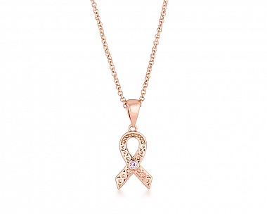 Delicate Rose Gold Plated Filigree Breast Cancer Awareness Ribbon Necklace