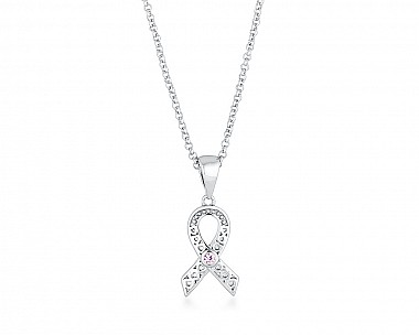 Delicate Rhodium Plated Filigree Breast Cancer Awareness Ribbon Necklace