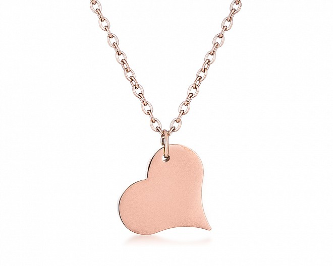 Rose Gold Plated Stainless Steel Tilted Heart Necklace