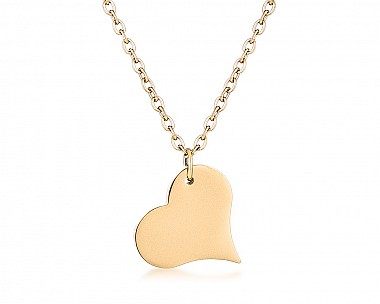 Gold Plated Stainless Steel Tilted Heart Necklace