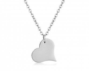 Stainless Steel Tilted Heart Necklace
