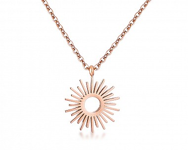 Rise and Shine Rose Gold Plated Sunburst Necklace