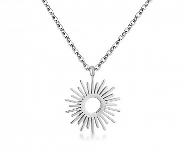 Rise and Shine Rhodium Plated Sunburst Necklace