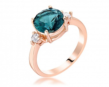Exquisite Rose Gold Plated Peacock Blue Three Stone CZ Engagement Ring