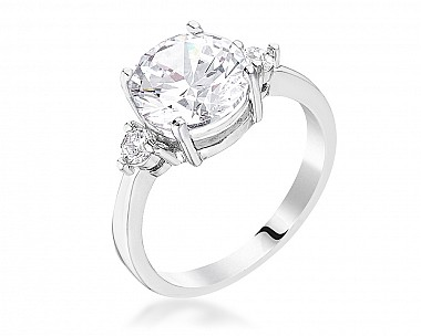 Classic Three Stone Clear CZ Engagement Ring