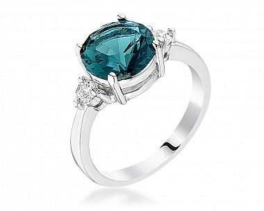 Exquisite Rhodium Plated Peacock Blue Three Stone CZ Engagement Ring