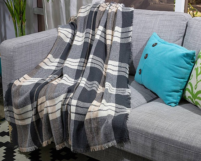 Soft Woven Blush Plaid Blanket