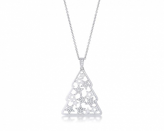.2 ct CZ Rhodium Christmas Tree With Mixed Stars Pave Holiday Necklace