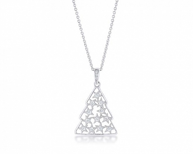 .2 ct CZ Rhodium Christmas Tree Pave Holiday Necklace
