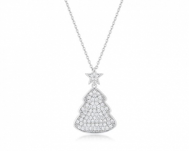 Elegant Clear Cubic Zirconia Christmas Tree Drop Necklace