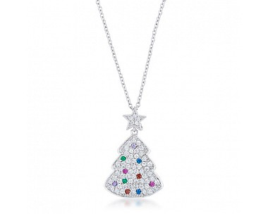 Elegant Multi Colored Cubic Zirconia Christmas Tree Drop Necklace