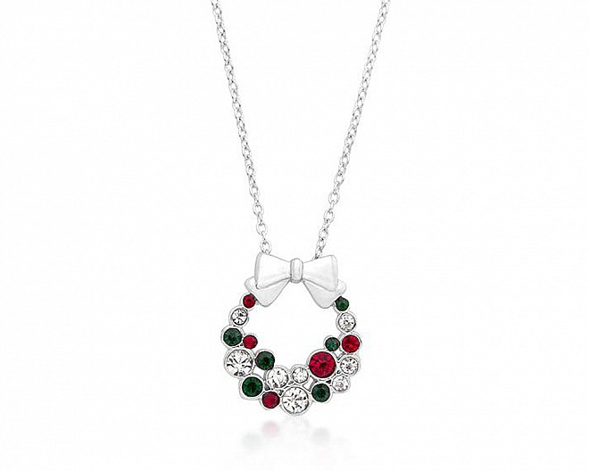 Festive Multi-Colored Crystal Holiday Wreath Necklace