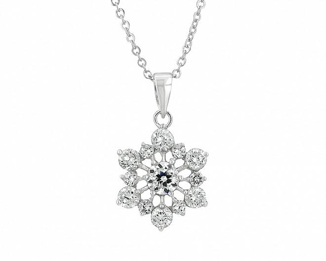 Sparkling Cubic Zirconia Snowflake Necklace