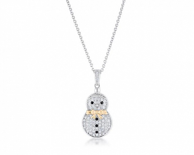 Cubic Zirconia Two-Tone Snowman Pave Holiday Necklace