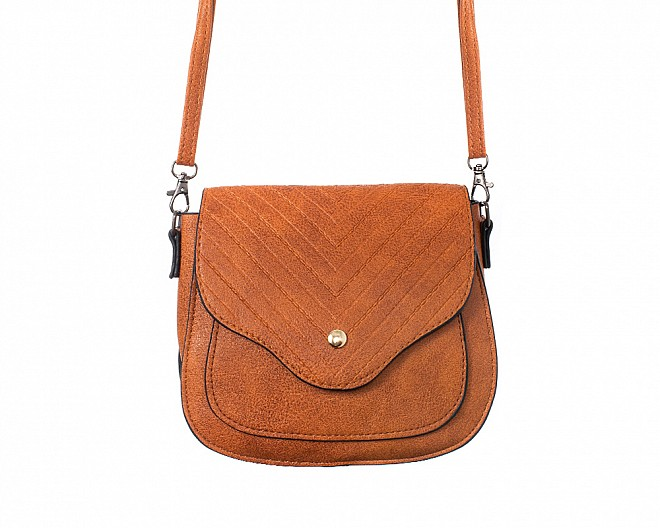 Cognac Saddle Style Cross Body Bag