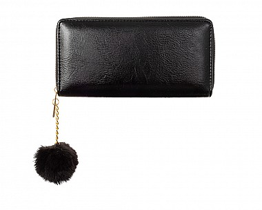 Simple Black Faux Leather Zip Around Wallet