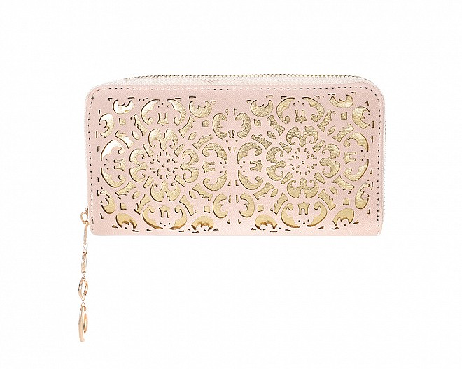 Chic and Trendy Blush Pink Faux Leather Filigree Zip Around Wallet