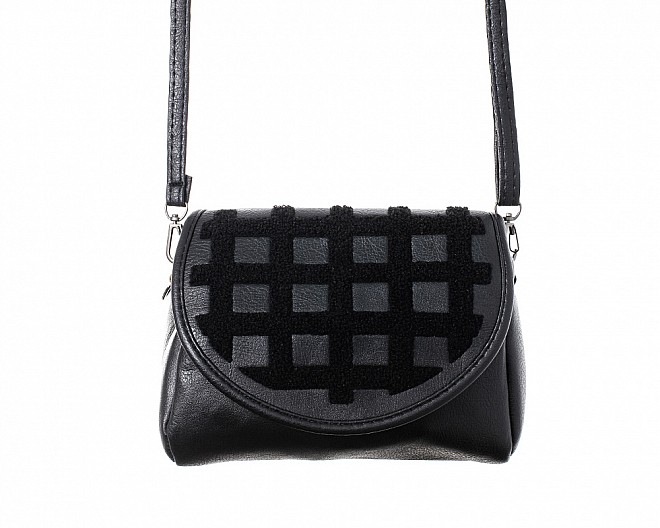 Black Faux Suede and Sherpa Quilted Cross Body Bag