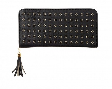 Black Faux Leather Studded Zip Around Wallet