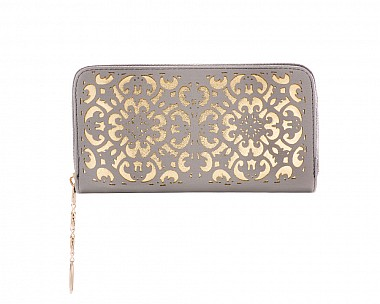 Chic and Trendy Grey Faux Leather Filigree Zip Around Wallet