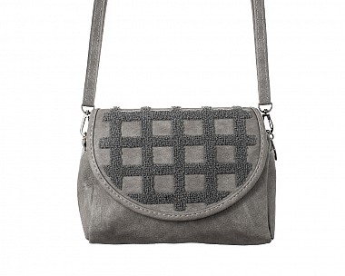 Grey Faux Suede and Sherpa Quilted Cross Body Bag