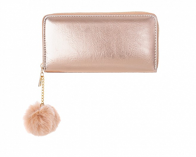 Glitzy Rose Gold Faux Leather Zip Around Wallet