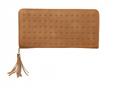 Tan Faux Leather Studded Zip Around Wallet