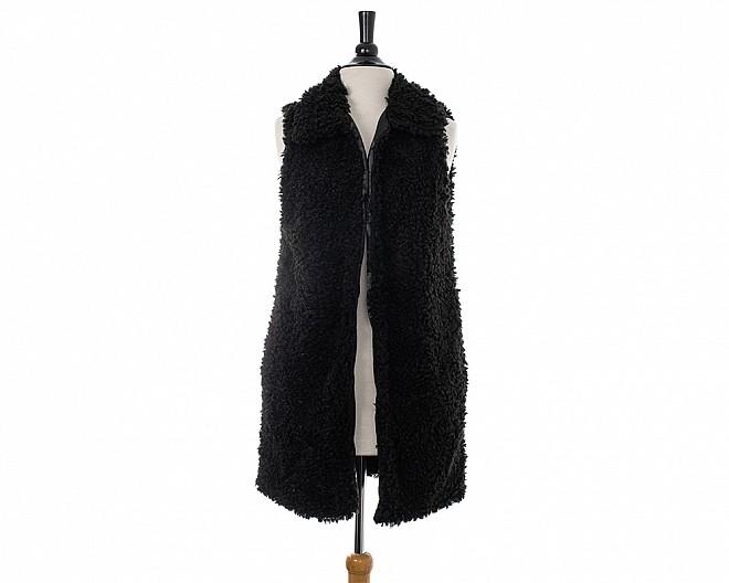 Black Fluffy Faux Sherpa Longline Vest