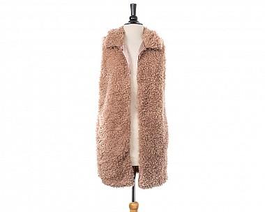Blush Pink Fluffy Faux Sherpa Longline Vest