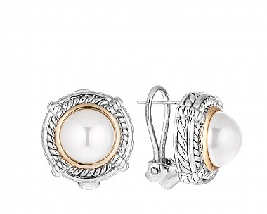 Antique Two Tone Simulated Pearl Earrings