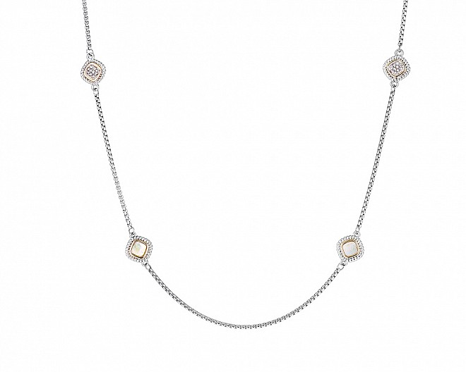 Antique Mother of Pearl and Pave Crystal Station Necklace