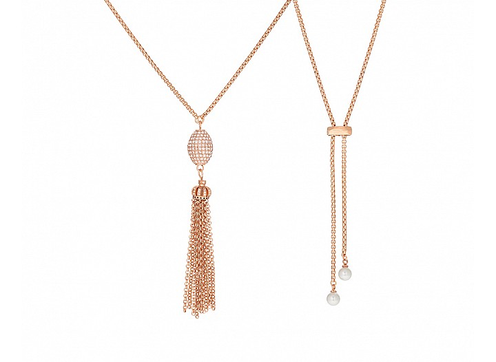 Elegant Rose Gold Plated Tassel Necklace Adorned with Oval Pave Ball