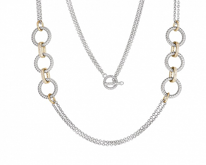 Contemporary Two Tone Cirlcle Link Necklace