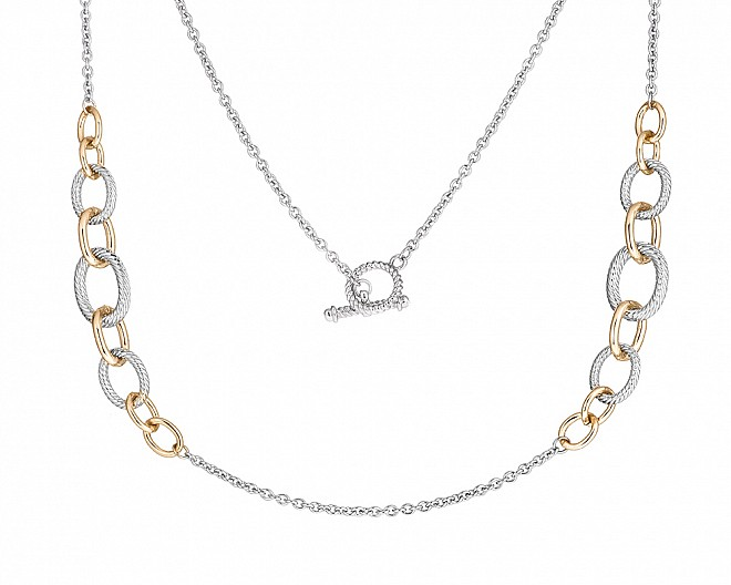 Contempory Two Tone Graduated Oval Link Necklace