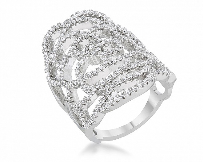 Abigail Silvertone Pave Floral Statement Ring