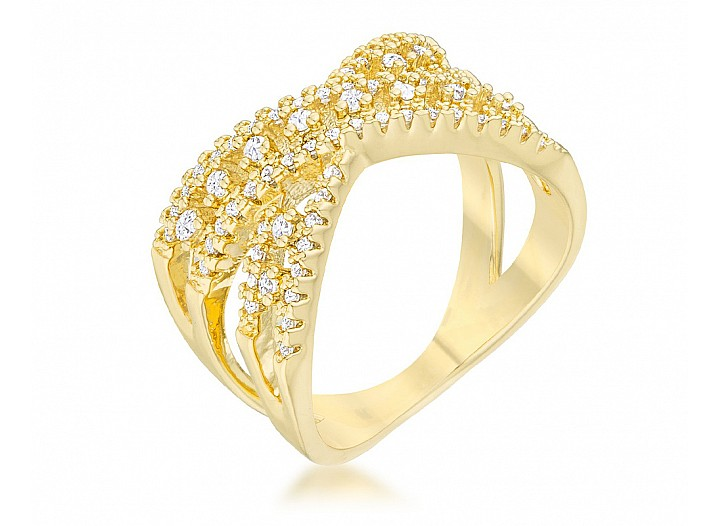 Eliana Gold Tone CZ Criss Cross Ring