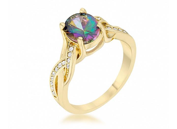 Gabriella Gold Tone Mystic CZ Ring