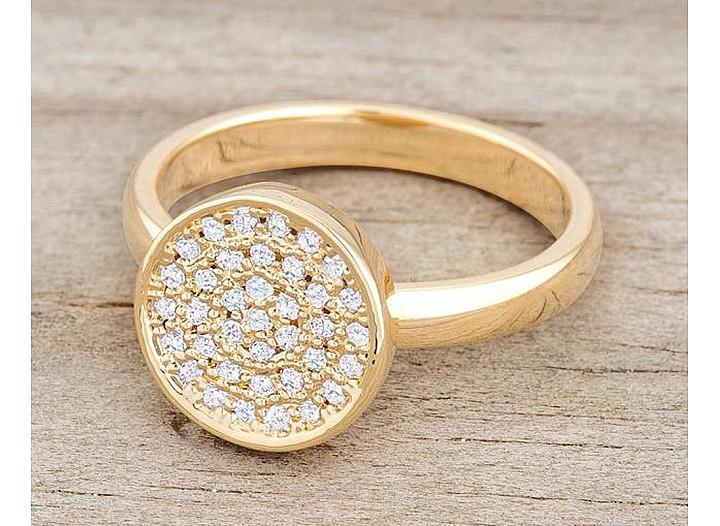 Ingrid Gold Tone Pave Circle Ring