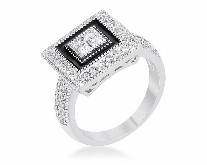 Isla Silvertone CZ Vintage Inspired Ring