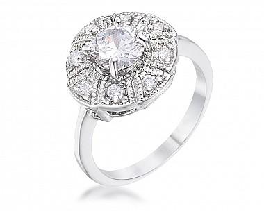 Lisa Silvertone CZ Vintage Floral Ring